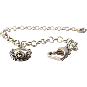 Sterling Princess Crown Charm Bracelet with Heart Clasp Vintage