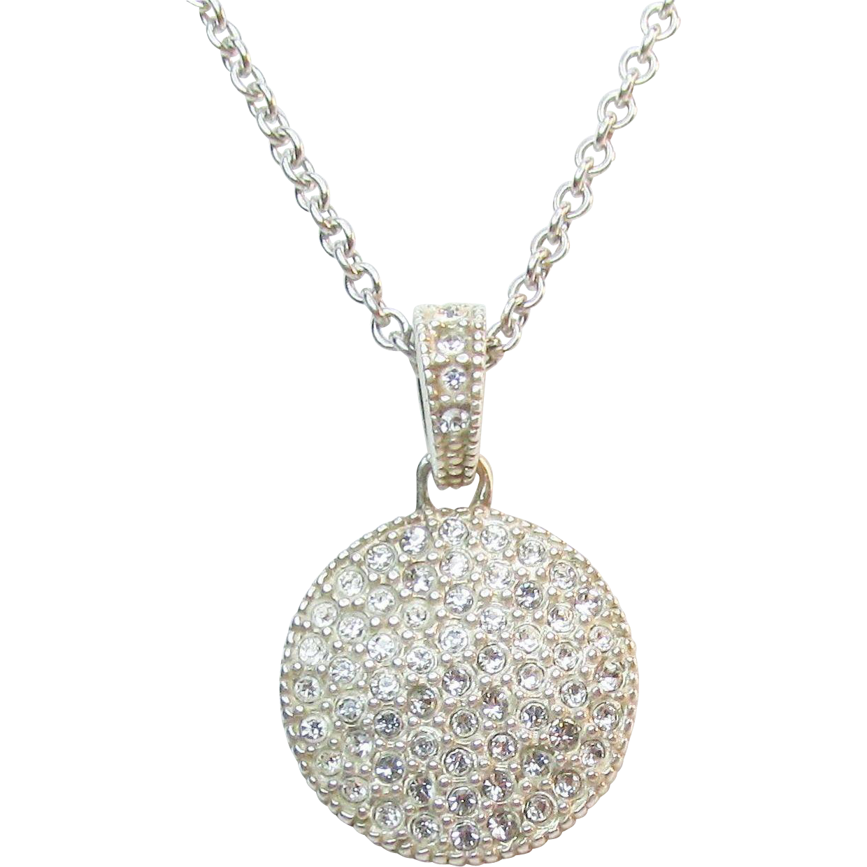 sterling two sided pendant necklace marcasite and cz