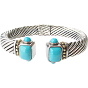 Sterling 14K Turquoise Clamper Bangle Bracelet  44.58 Grams