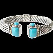 Sterling 14K Turquoise Clamper Bangle Bracelet  44.58 Grams