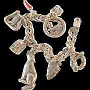Sterling Charm Bracelet Southwest Motif Vintage Rattlesnake Roadrunner