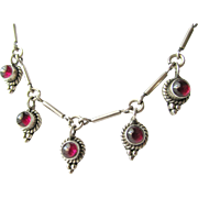 Sterling Garnet Vintage Art Nouveau Revival Choker Necklace