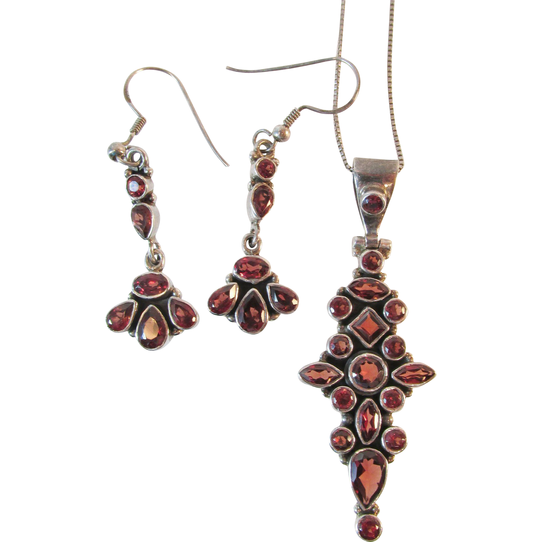 Dramatic Sterling Garnet Pendant and Dangle Earring Set
