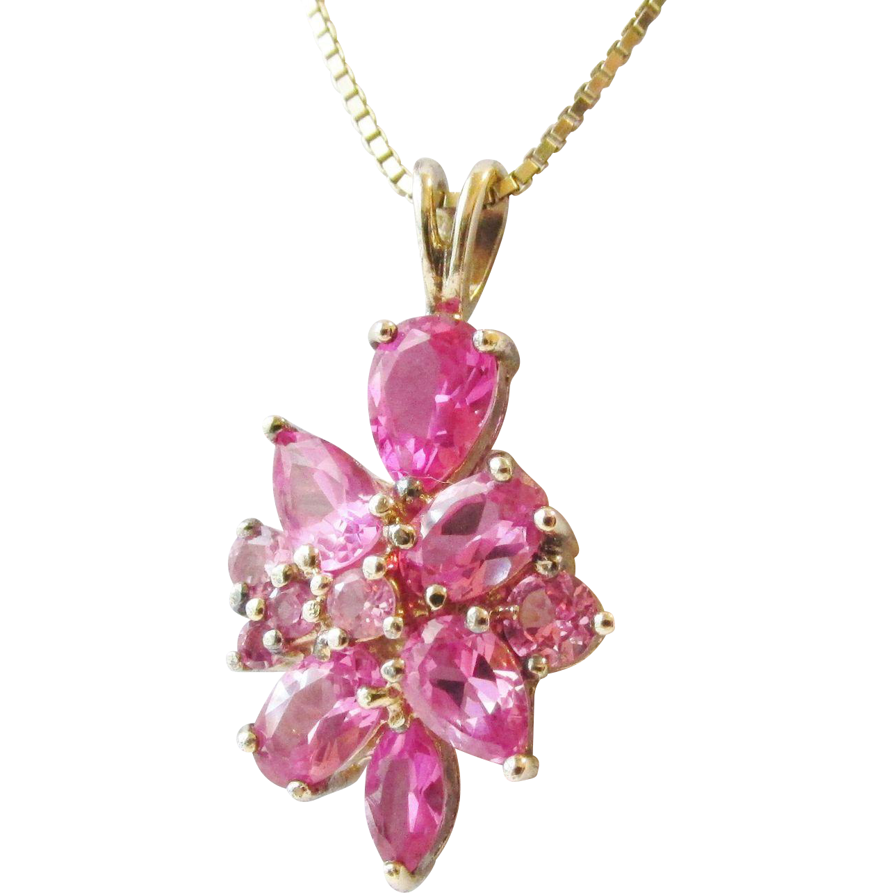 Gorgeous Sterling Heavy 14K Gold overlay Pink Sapphire Cluster Pendant Estate