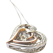 Sterling 10K Rose Gold Diamond Heart Pendant Necklace