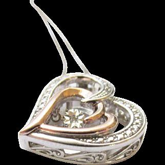 Sterling 10K Rose Gold Diamond Heart Pendant Necklace