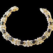 Gold Vermeil Sterling Sapphire Butterfly Bracelet Vintage