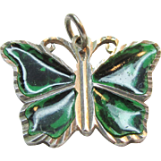 Sterling Butterfly Pendant with Green Wings Vintage