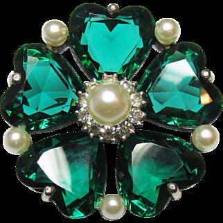 Sterling Green Crystal 24.90 Grams Faux Pearl Rhinestone Vintage Brooch Stunning