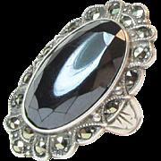 Signed Uncas Art Deco Sterling Hematite Marcasite Ring Vintage Ca. 1930's