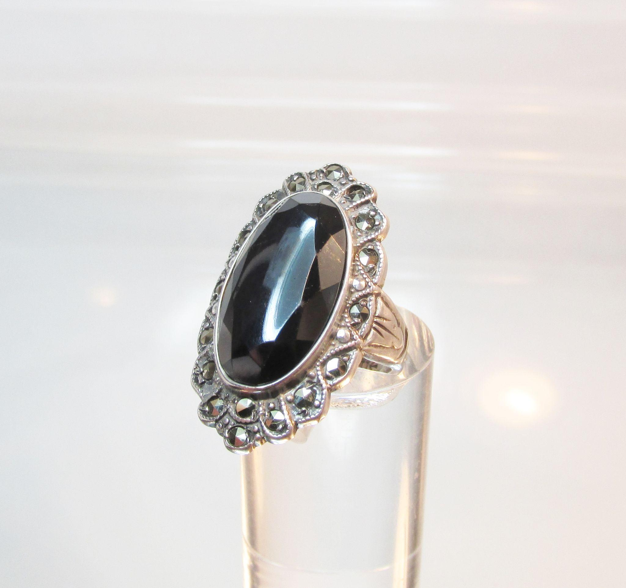 product vintage sterling x silver rings pendant marcasite antique with and oval jo black bangles onyx