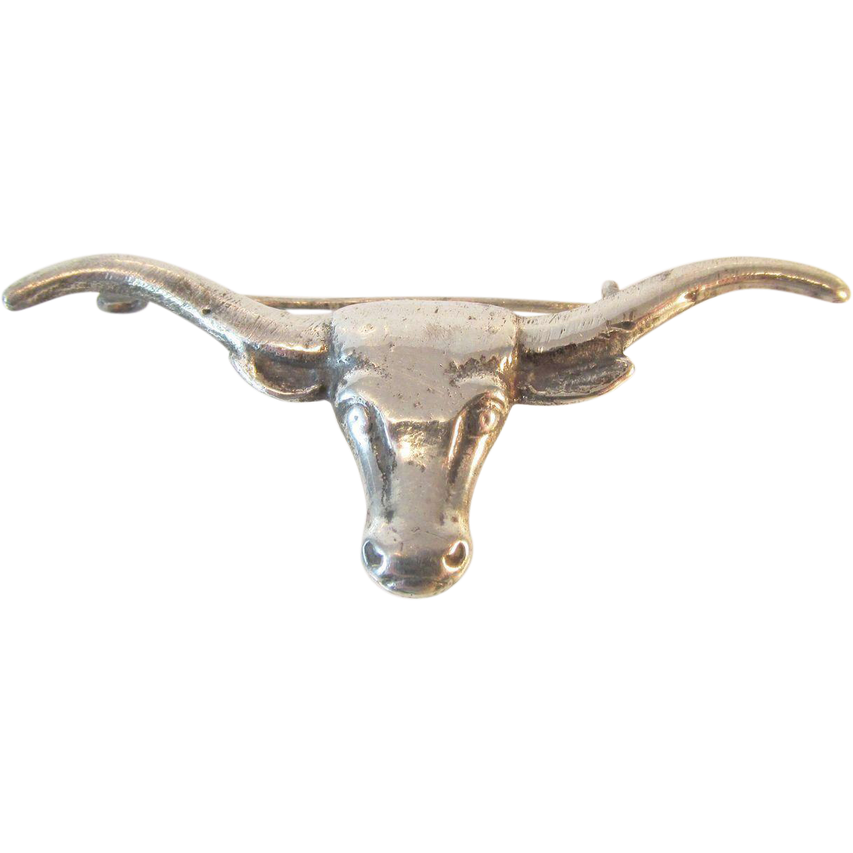 Antique Mexico Sterling Longhorn Bull Brooch Pin
