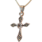 Sterling Marcasite Cross Pendant Vintage