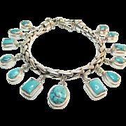 Stunning Sterling Turquoise Charm Bracelet Estate 61.80 Grams