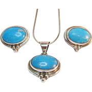 Mexico Sterling Turquoise Necklace Pendant Earring Set Vintage