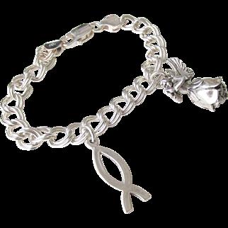 Angel Charm Bracelet Sterling Vintage 21.30 Grams