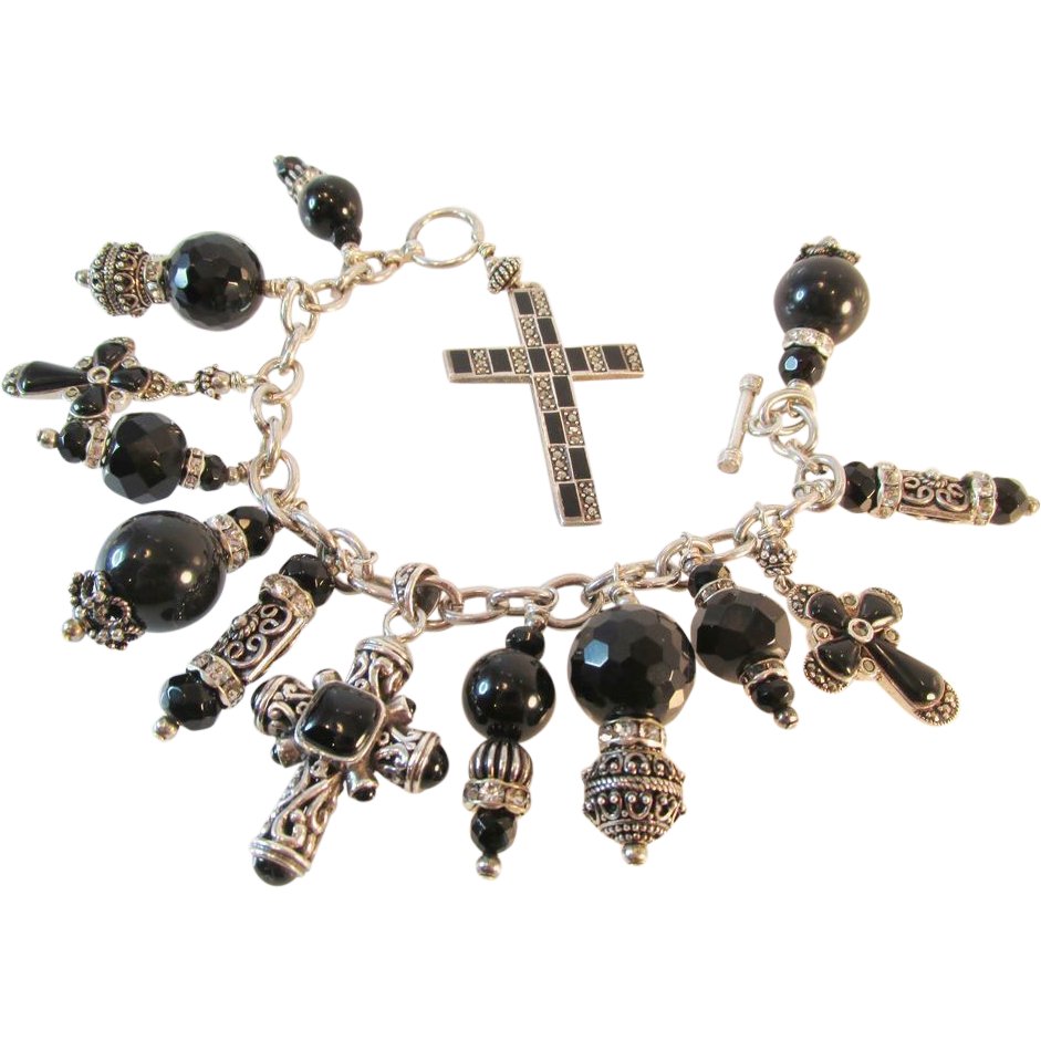 Fabulous Sterling Onyx Chunky Cross Bracelet