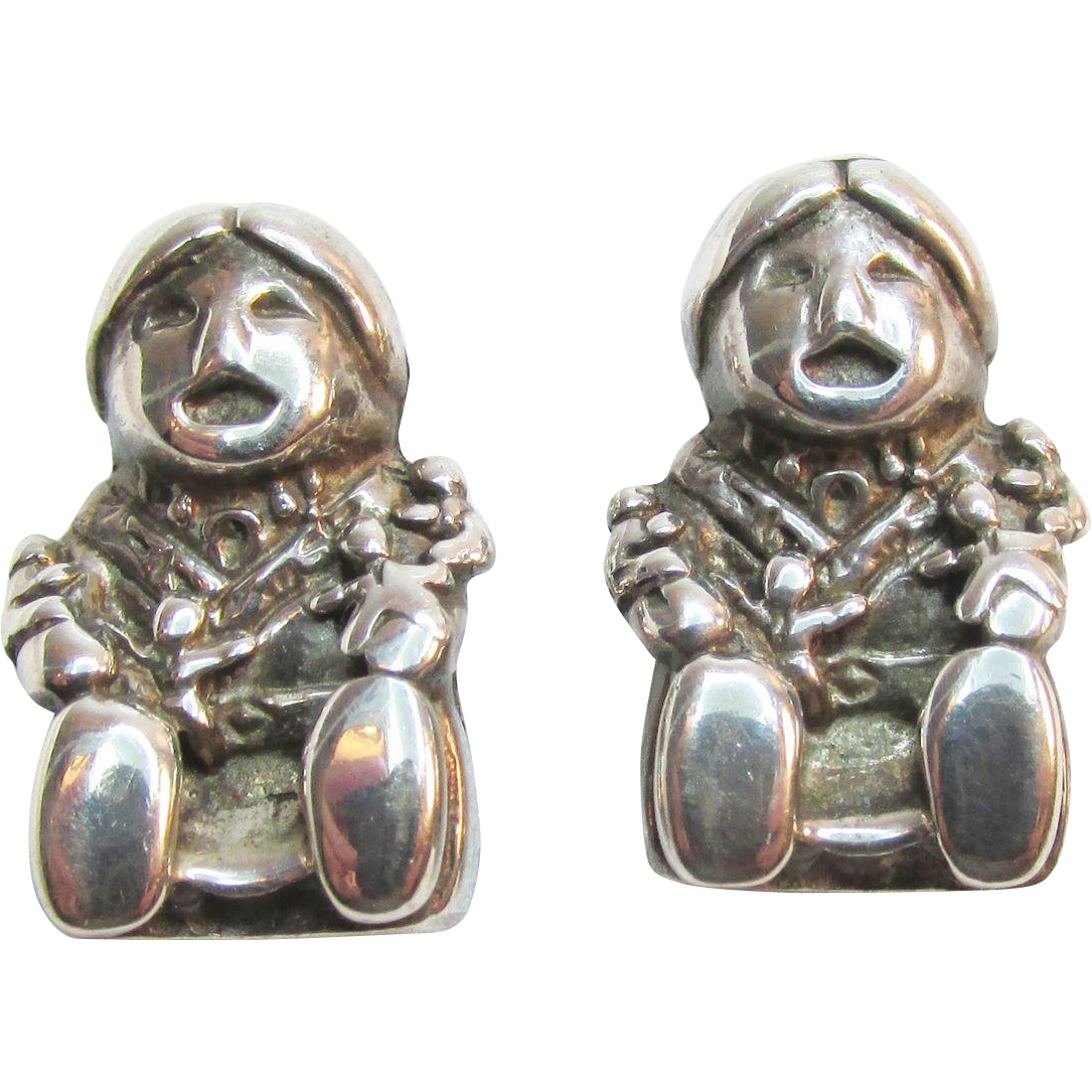 Solid Sterling Earrings Woman Reading To Children 8.12 grams