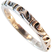 Sterling Etched Eternity Ring Band Vintage