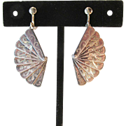 Unique Sterling Fan Earrings Vintage Screw Back or Pierced