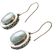 Sterling Mother of Pearl Vintage Earrings Pierced
