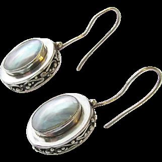 Sterling Mother of Pearl Vintage Earrings Pierced