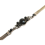 Black Onyx Sterling Rope Chain Bracelet Vintage 16 Grams