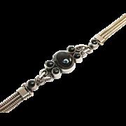 Black Onyx Sterling Rope Chain Bracelet Vintage 16 Grams