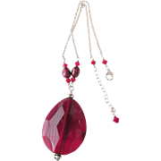 Sterling Large Red / Deep Burgundy Glass Pendant Necklace Estate