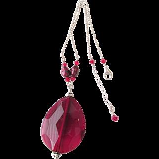 Sterling Large Red / Deep Burgundy Glass Pendant Necklace Estate