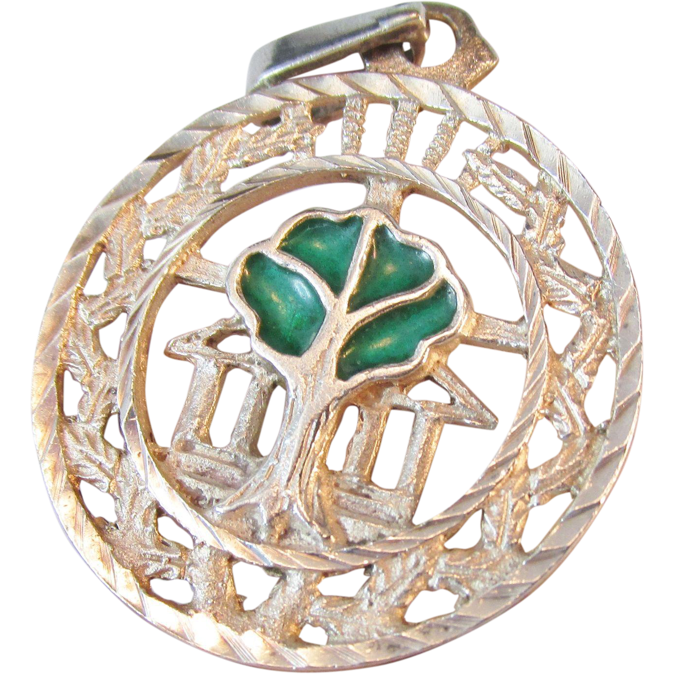 Sterling Enameled Tree Pendant Vintage