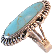 Vintage Turquoise Sterling Large Ring