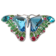 Swarovski Sterling Crystal Large Signed Butterfly Brooch Retired Vintage