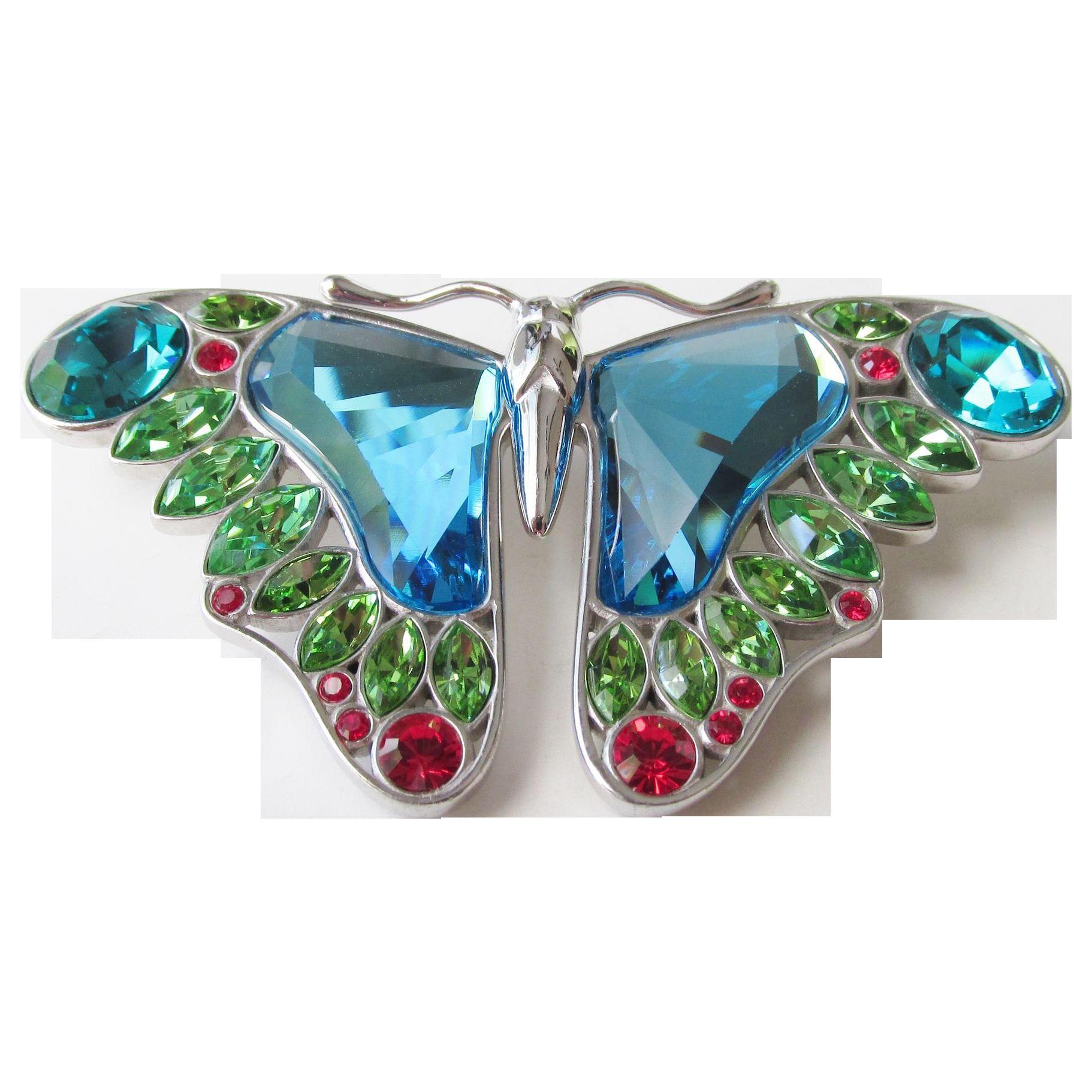 Swarovski Sterling Crystal Large Signed Butterfly Brooch Retired Vintage