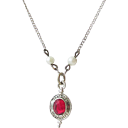 Texas A&M Class Pendant Necklace Sterling Glass Ruby with Pearls Vintage
