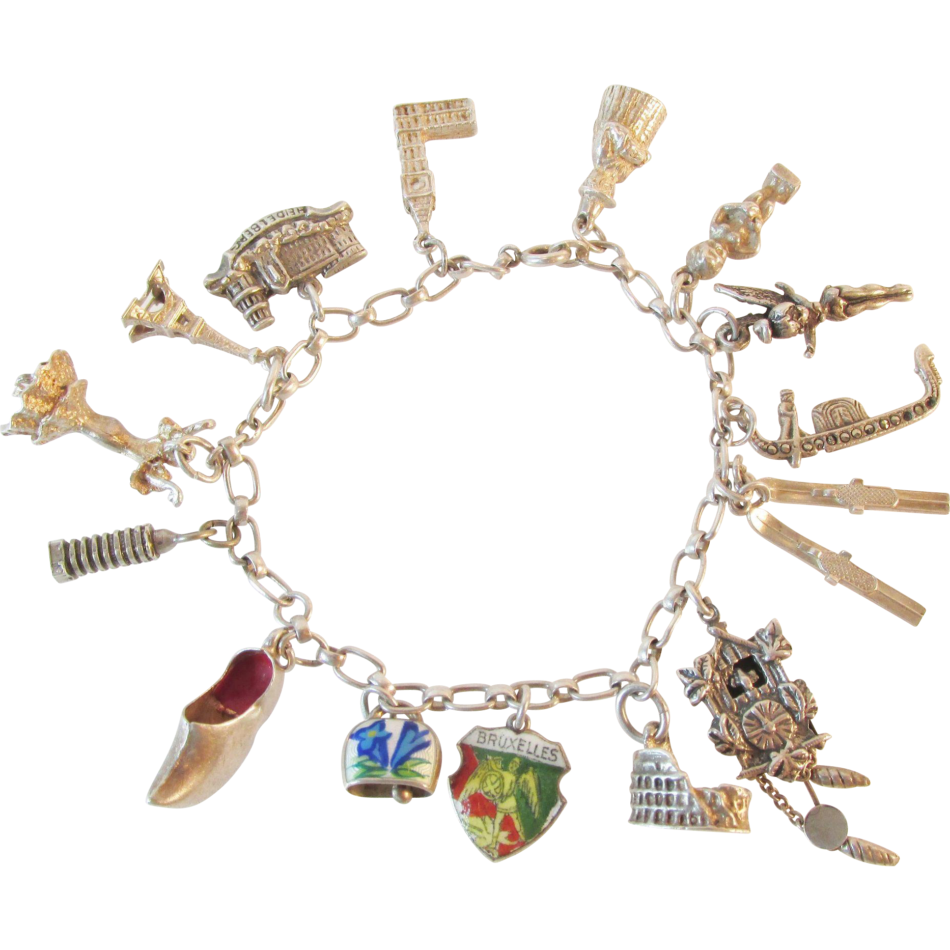 Signed 1940's World Travel Charm Bracelet, Tinker Bell, Enameled 800 835 Sterling Vintage