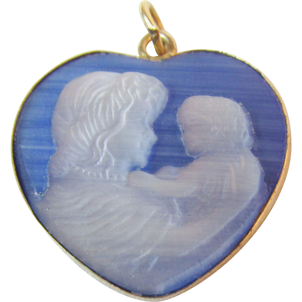 Signed Tru Kay 1/20 14K G.F. Heart Mother and Child Cameo Pendant Vintage