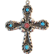 Signed Mexico Large Turquoise Coral Sterling Cross Pendant Vintage