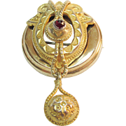 Victorian 14K GF With Rose Cut Ruby Antique Brooch