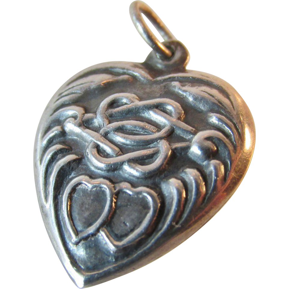 Antique Victorian Sterling Repousse Heart Charm Double Heart and Eternity Knot Hearts