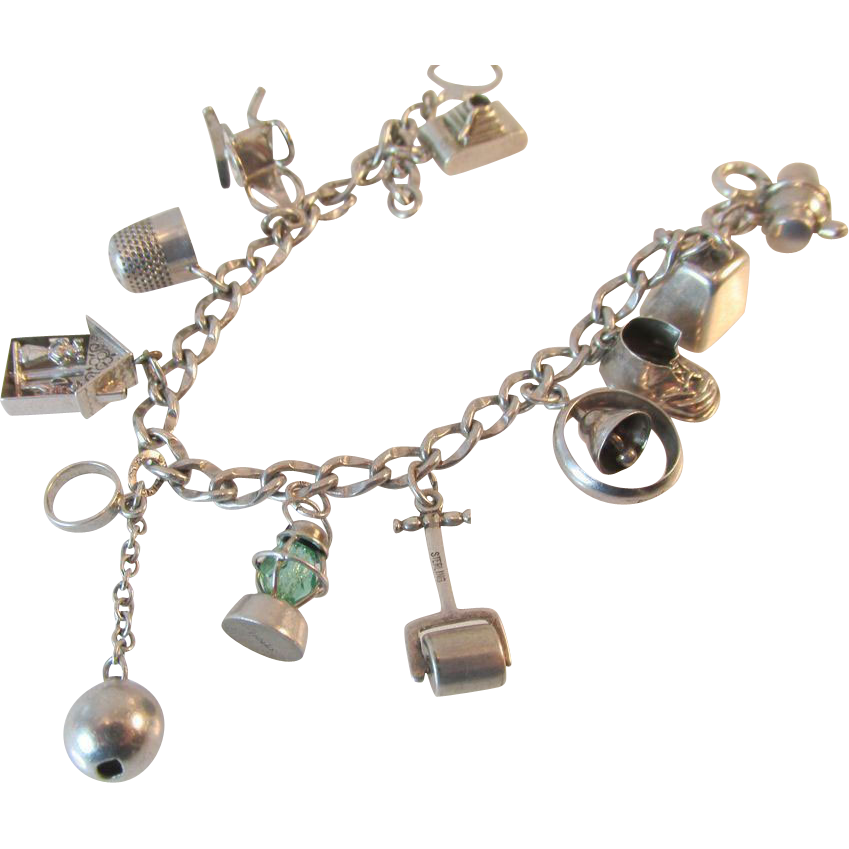 WWII Era Signed 5 Walter Lampl Charms, 1 Book Piece Vintage Sterling Bracelet