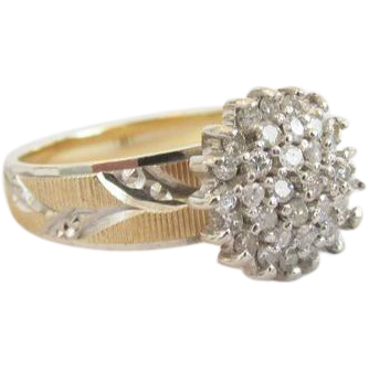 Vintage 10K Yellow Gold and White Gold 36 Diamond Cluster Ring