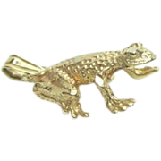 14K Yellow Gold Frog Charm or Pendant Vintage 1.44 Grams