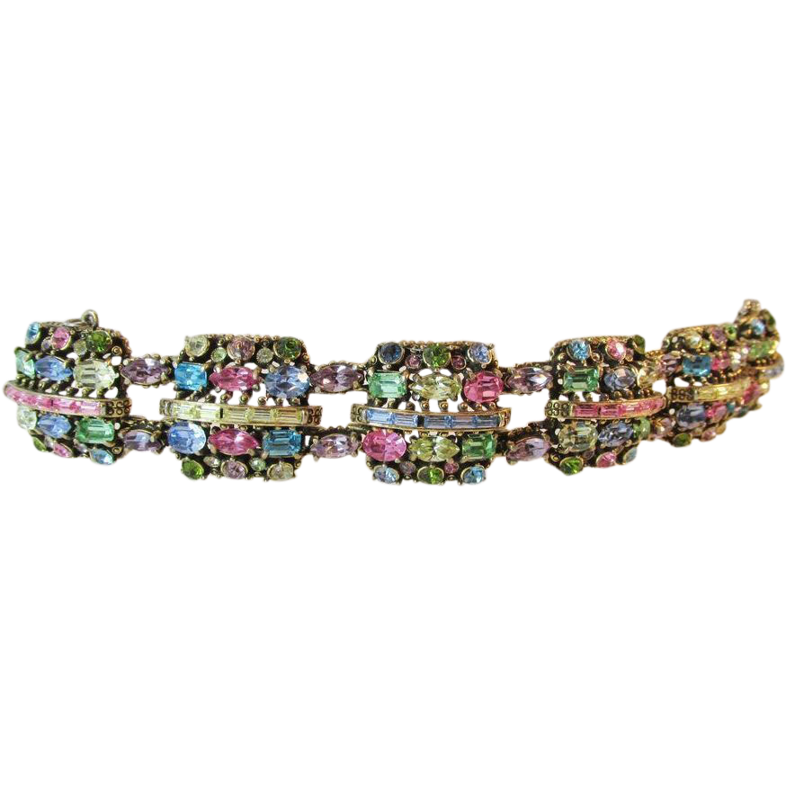 Exquisite Hollycraft 1955 Vintage Pastel Panel Bracelet