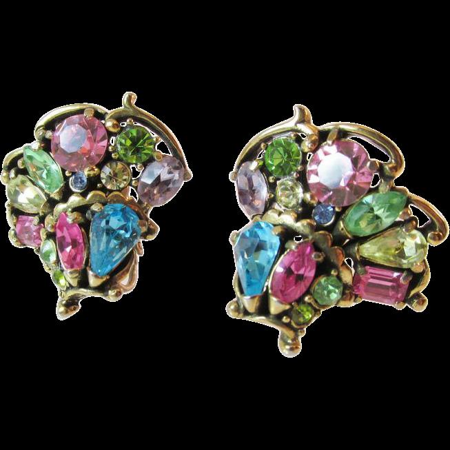Hollycraft 1955 Pastel Earrings Vintage