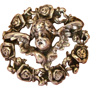 Divine Signed Parenti Sterling Cherub Brooch by the Parenti Sisters