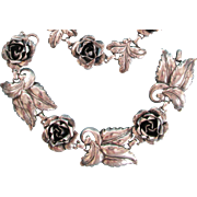 1930's Sterling Roses Bracelet, Necklace Earrings Set Vintage
