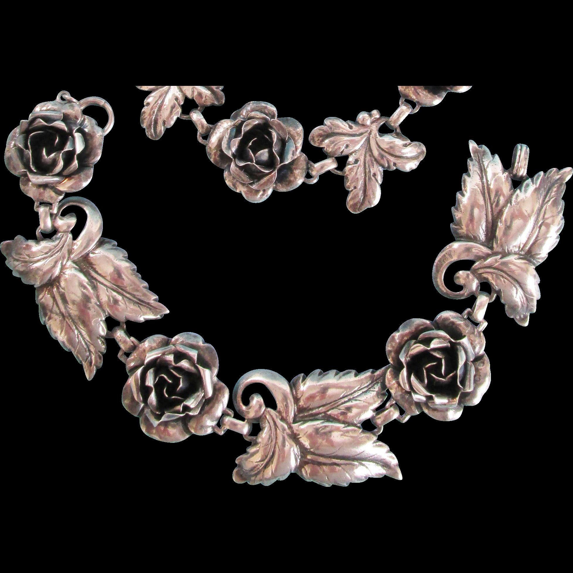1930's Sterling Roses Bracelet, Necklace Earrings Set Vintage