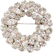 Stunning SHERMAN Clear Rhinestone Brooch Vintage Perfect for a Bride
