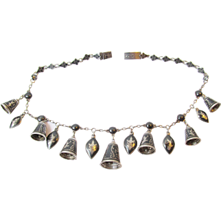 Sterling Siam Silver Bell Necklace ca 1940 Vintage